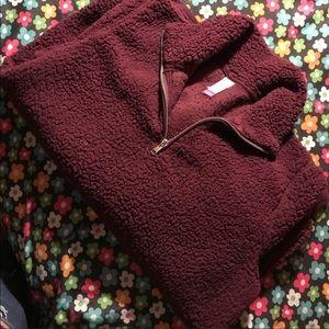 half zip sherpa sweater 🌹